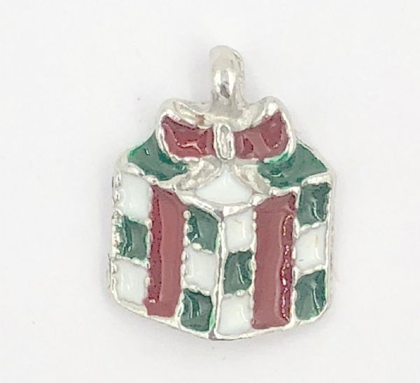 Enamel christmas present charm white/green/red 10mm x 12mm rhodium
